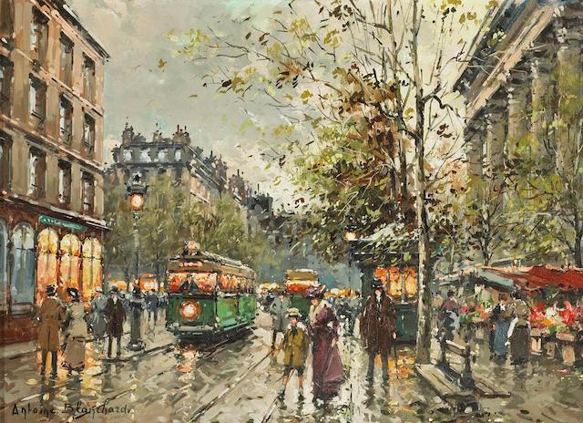 Antoine Blanchard (French, 1910-1988) Marché aux Fleurs de la Madeleine, Paris 13 x 18in (33 x 45.7cm)