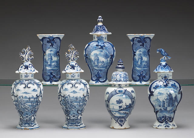 An assembled grouping of Dutch blue and white Delft