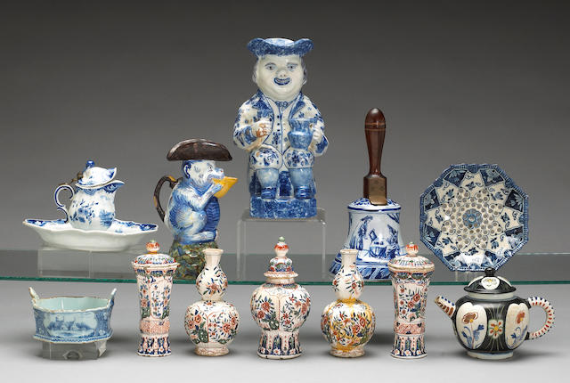 An assembled grouping of Dutch blue and white or polychrome Delft