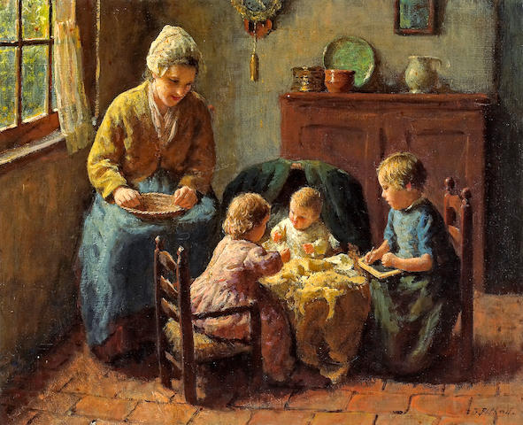 Bernard Pothast (Dutch, 1882-1966) Playing with baby 12 3/4 x 15 3/4in (32.4 x 40cm)
