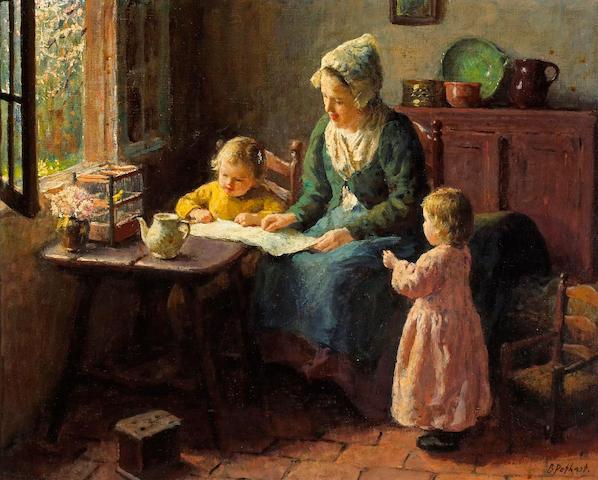 Bernard Pothast (Dutch, 1882-1966) A quiet moment 12 3/4 x 16in (32.3 x 40.7cm)