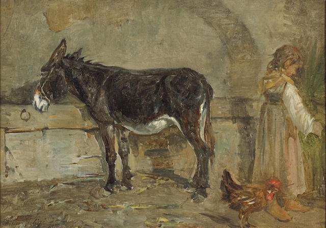 Filippo Palizzi (Italian, 1818-1899) A barn interior with a donkey and a figure 10 x 14in (25.4 x 35.6cm)