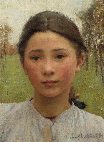 Sir George Clausen, RA, RWS (British, 1852-1944) The head of a young girl 13 3/4 x 10 3/4in (34.9 x 27.3cm)
