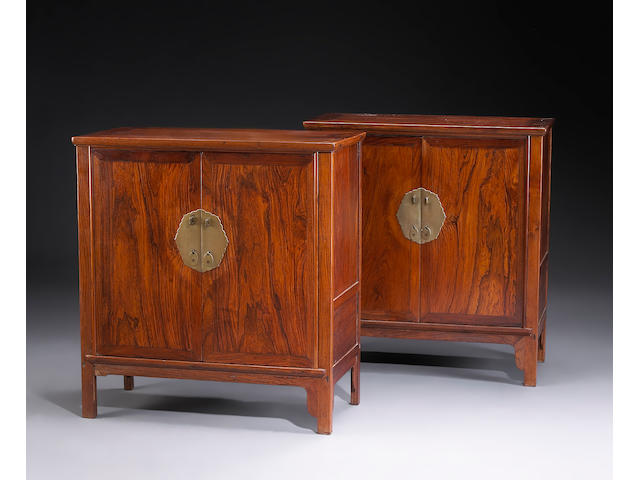 A pair of huanghuali and mixed wood two-door side cabinets Republican Period