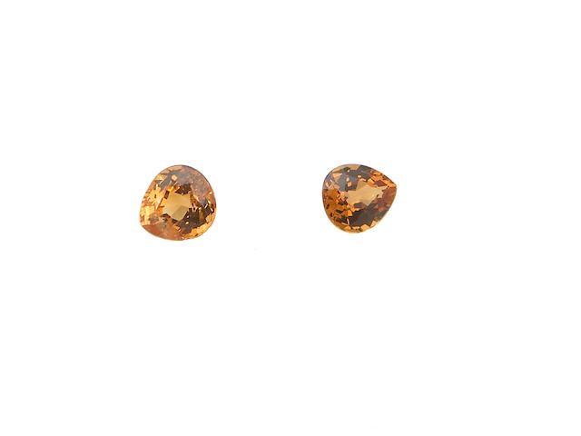 Two Orange Sapphires and Two Spessartite Garnets