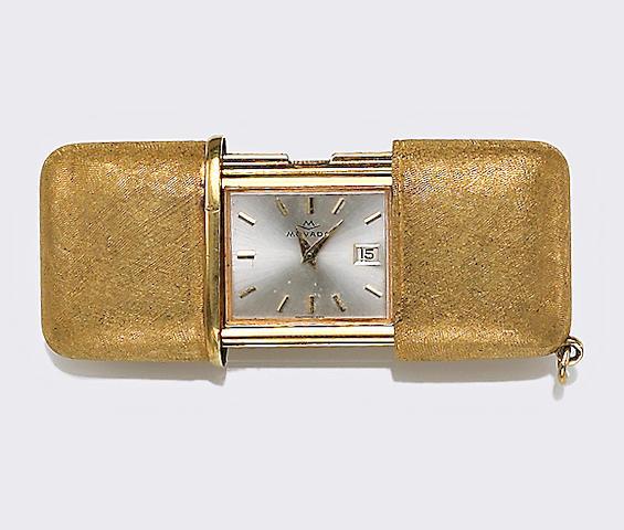 An eighteen karat gold purse watch, Hermetto Movado