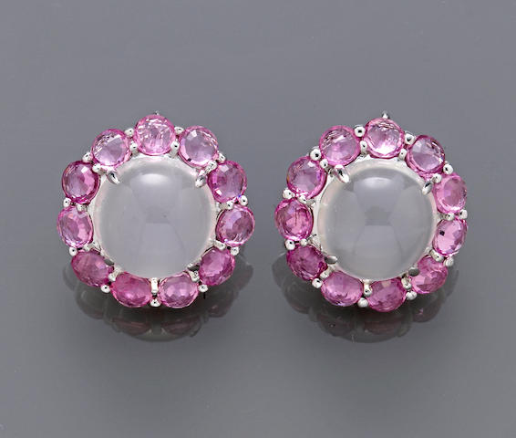 A pair of moonstone and pink sapphire earrings
