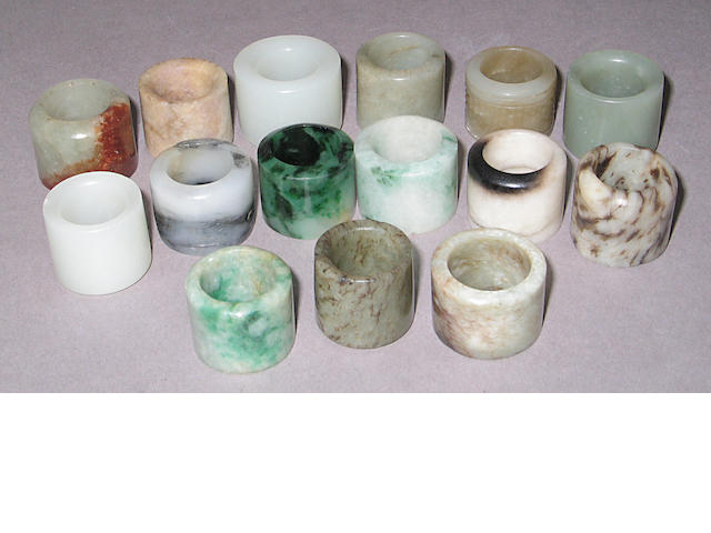 A group of fifteen jade and hardstone archer's rings