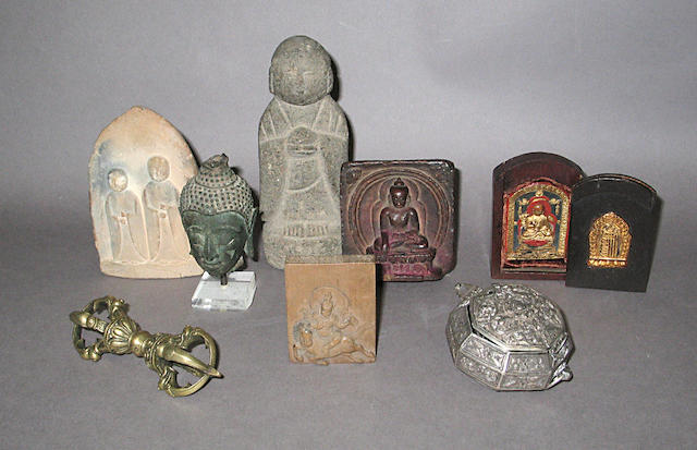 A group of Tibetan, Thai and Japanese Buddhist-related objects
