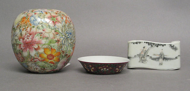 Three small enameled porcelains