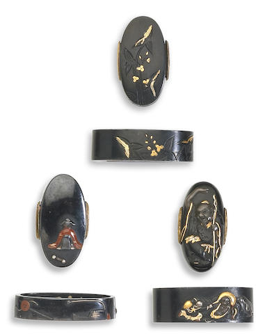 Three shakudo fuchi-kashira Edo Period, 18th/19th Century