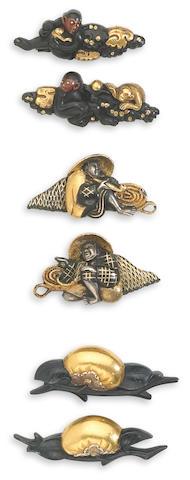 Three pairs of menuki Edo Period, 17th/18th Century