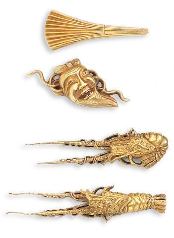 Two pairs of gold menuki Edo Period, 18th/19th Century