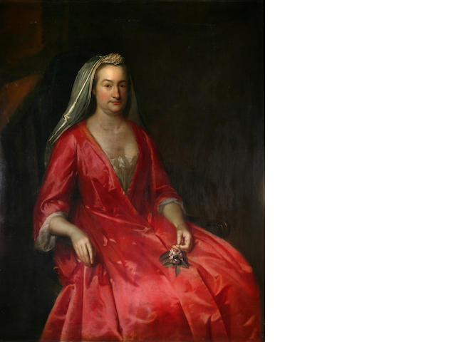 Circle of John Verelst Lady in red unsigned oil on canvas