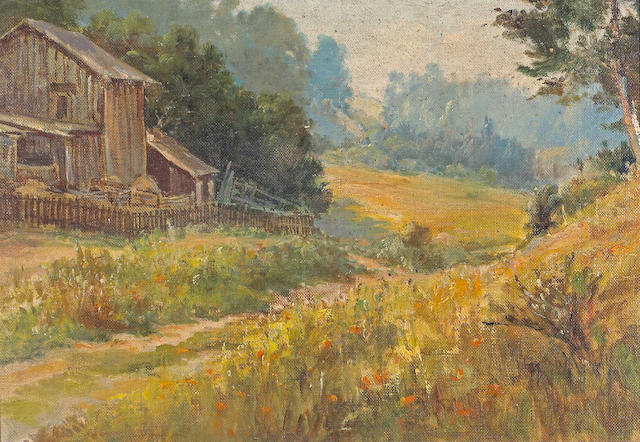 Jack Wisby (American, 1870-1940) A Farmhouse and Poppies, thought to be Marin 10 1/4 x 15in