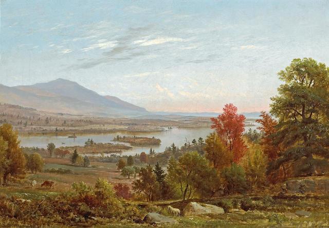 Samuel Lancaster Gerry (American, 1813-1891) Lake Winnipesaukee in October, 1858 14 x 20in
