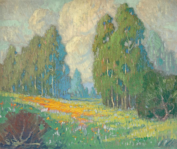 Paul Lauritz (Norwegian/American, 1889-1975) Poppies and Eucalyptus, California 20 x 23 3/4in