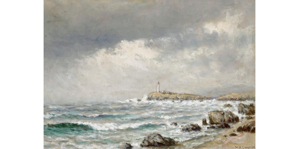 William Alexander Coulter (1849-1936) Distant Lighthouse below Stormy Skies 14 x 20in