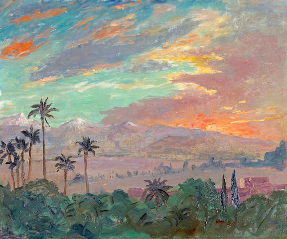 Sir Winston Spencer Churchill (British, 1874-1965) Sunset over the Atlas Mountains, Marrakech 20 x 24in (50.8 x 61cm)