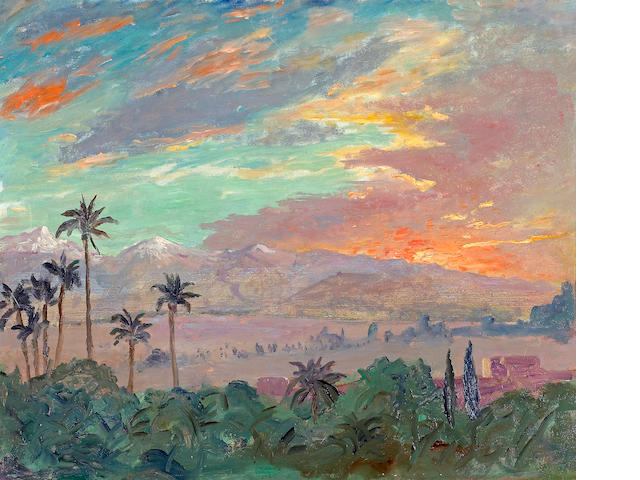 Sir Winston Spencer Churchill (British, 1874-1965) Sunset over the Atlas Mountains, Marrakech, ca. 1