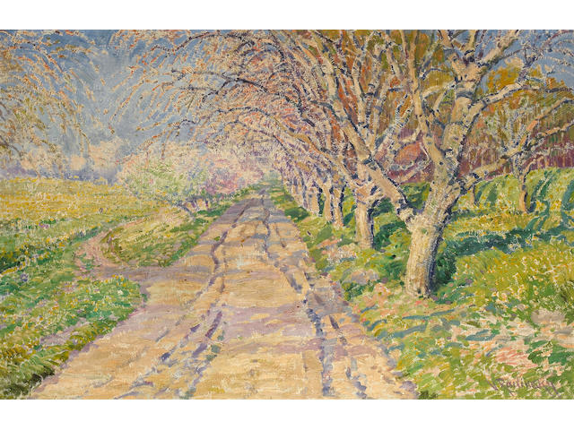 Vaclav Radimsky (1867-1946) A tree-lined road 25 3/4 x 39 1/2in (65.4 x 100.4cm)