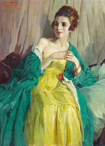 Henri Joseph Thomas (Belgian, 1878-1972) A fashionable beauty 29 x 21 1/4in (73.7 x 54cm)