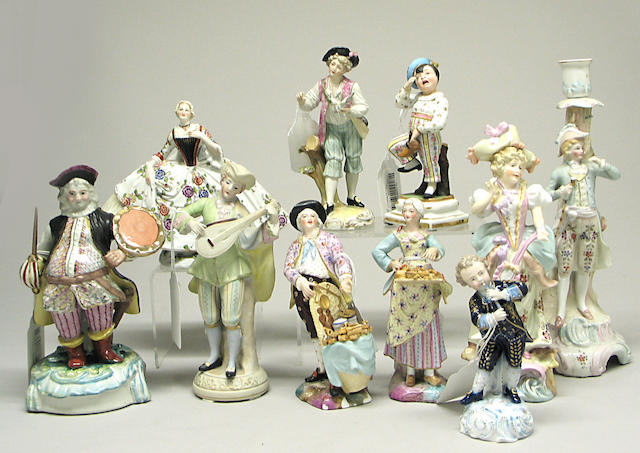 An assembled group of ten Continental porcelain figures