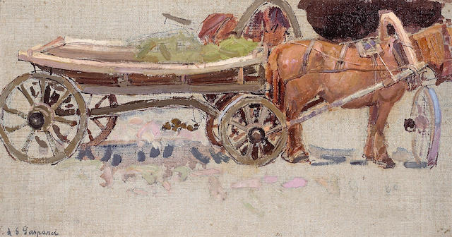 Leon Schulman Gaspard (Russian/American, 1882-1964) Horse and Wagon with Yoke 7 1/2 x 14in