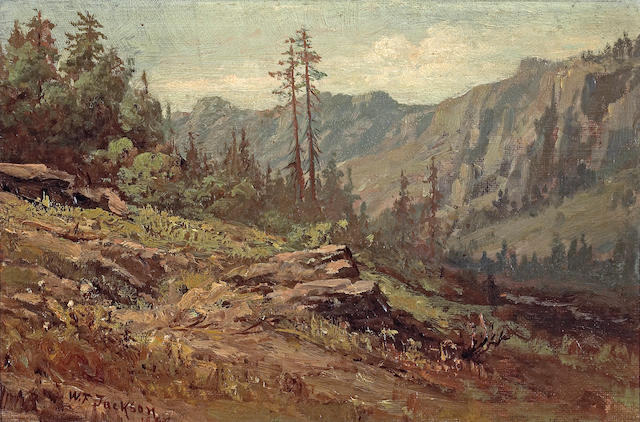 William Franklin Jackson (American, 1850-1936) On the Road from Summit to Soda Springs, 1898 8 x 12in