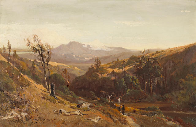 William Keith (Scottish/American, 1838-1911) A Trail through the Hills with Mt. Tamalpais in the distance  16 x 25in