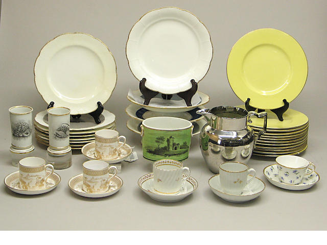 An assembled grouping of English porcelain