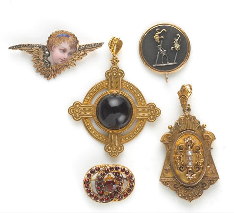 A collection of Victorian gem-set, diamond, enamel, glass, 18k and 14k gold jewelry