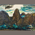 John O'Shea (American, 1876-1956) Coastal Rocks 9 1/2 x 13 1/4in