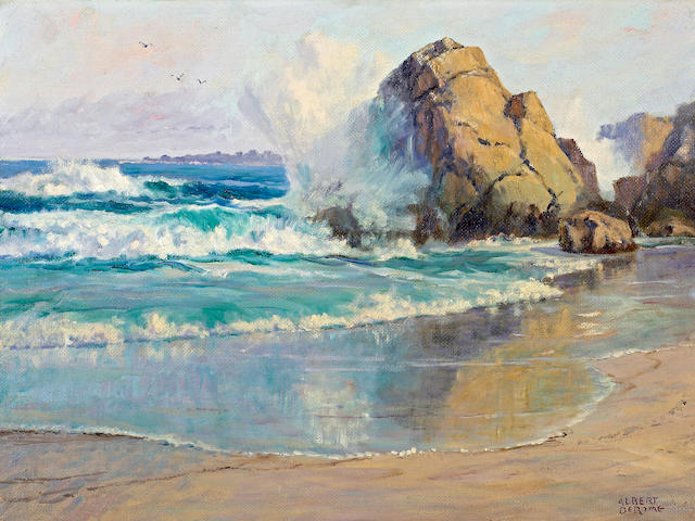 Albert DeRome (American, 1885-1959) Wet Sands Near Asilomar, 1955 18 x 24in