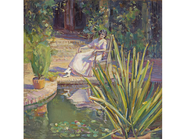Donna N. Schuster (American, 1883-1953) Garden Reflection 36 x 36in