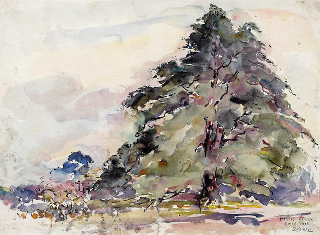 Joseph Raphael (American, 1869-1950) Hortus Leiden Glinko Tree 14 x 19in