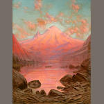 J.E. Stuart, Sunset glow Mt Tacoma Lake Cleelum, Washington, o/c