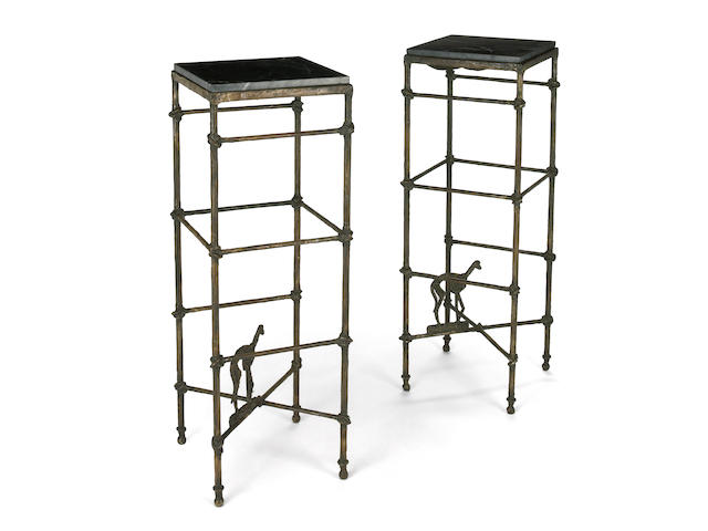 A pair of Arthur Court coated wrought-iron and marble Airdale pedestal stands