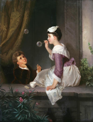 A Berlin porcelain plaque: Blowing Bubbles