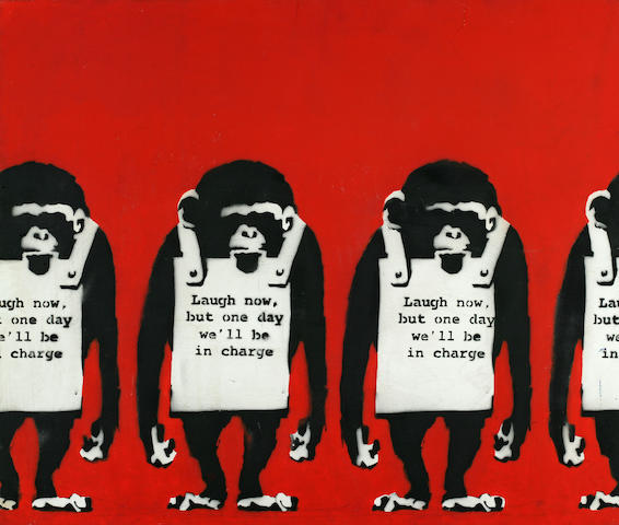 "Banksy (British, born 1975) Untitled (""Laugh Now ..."") 24 x 28 1/2in (61 x 73.5cm)"