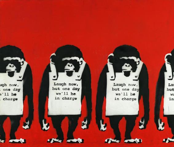 "Banksy (British, born 1975) Untitled (""Laugh Now ...""), 1998 24 x 28 1/2in (61 x 73.5cm)"