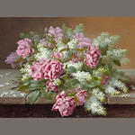 Raoul M. de Longpre (1843-1911) Still Life with Pink Roses and Lilacs 20 1/2 x 28in