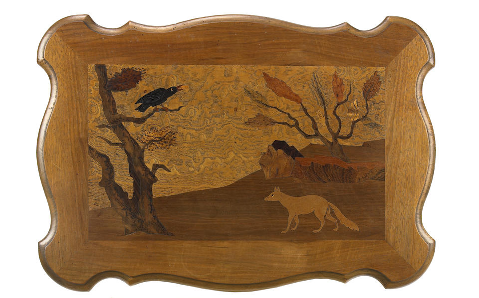A French marquetry inlaid walnut nest of four tables
