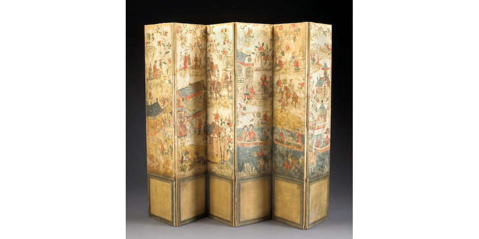 A Continental six-panel painted canvas folding floor screen