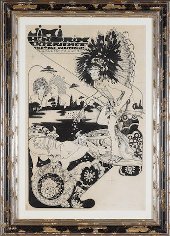 Michael English & Nigel Waymouth (aka Hapshash And The Coloured Coat): Jimi Hendrix Experience at the Fillmore Auditorium NYC, original poster artwork, 1967,