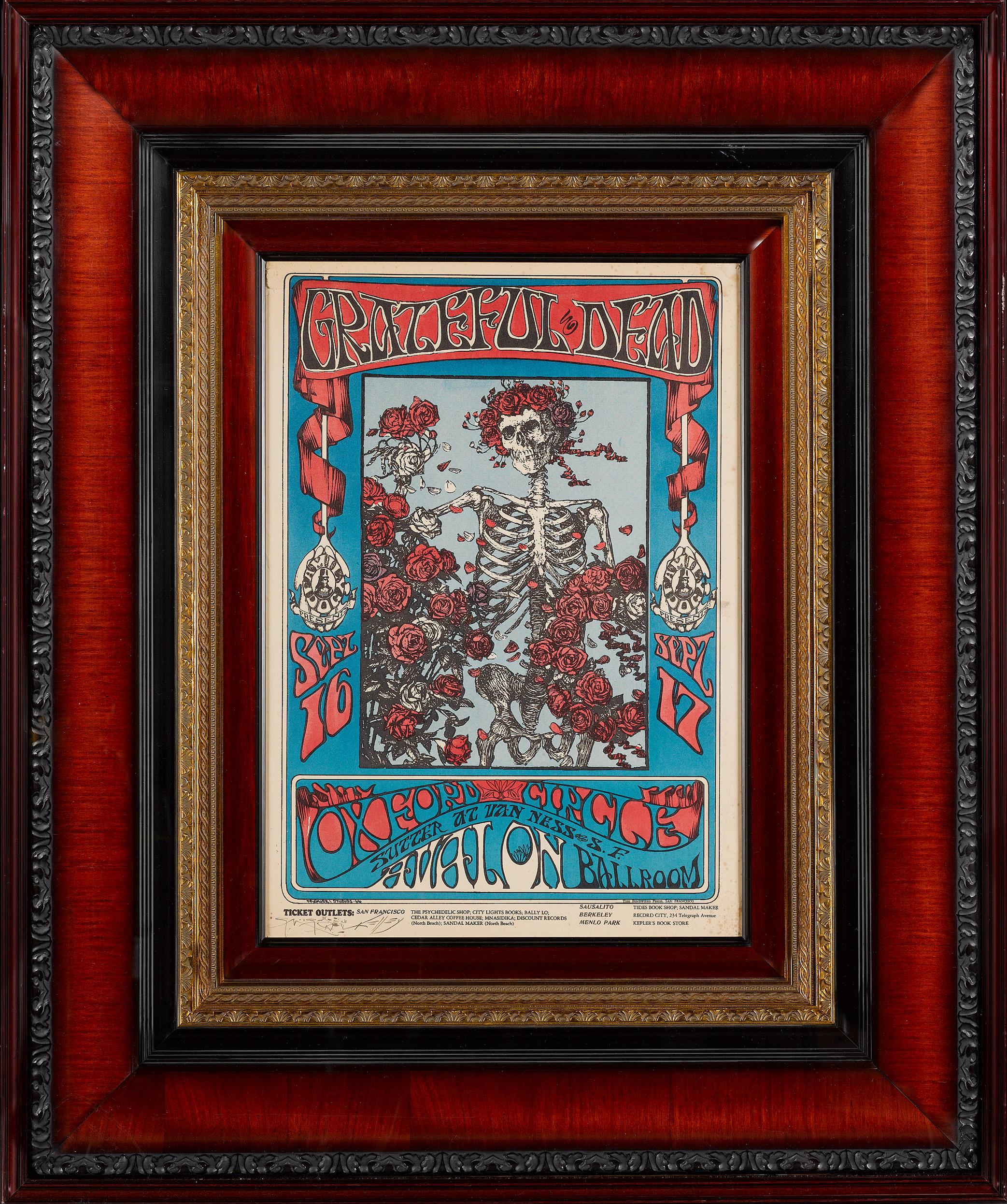 1966 concert poster Grateful Dead Skeleton and Roses Avalon Ballroom