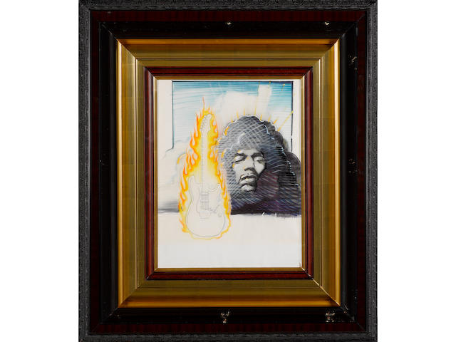 Rick Griffin & Stanley Mouse: Jimi Hendrix With Flaming Guitar, 1987,