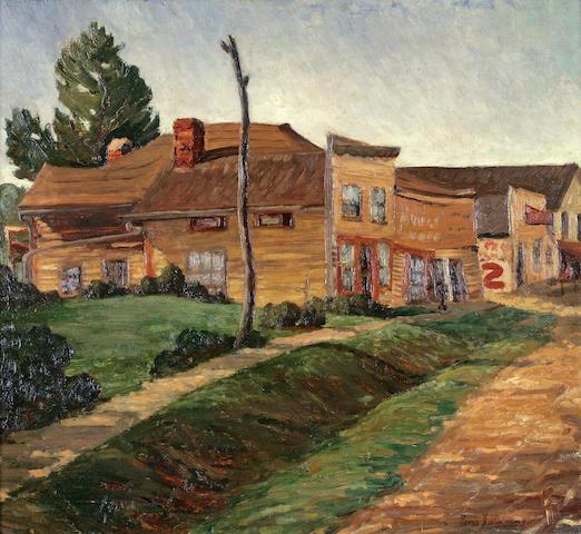 Dennis Meighan Burlingame (American, born 1901) Midwestern street scene, Iowa 20 x 22in