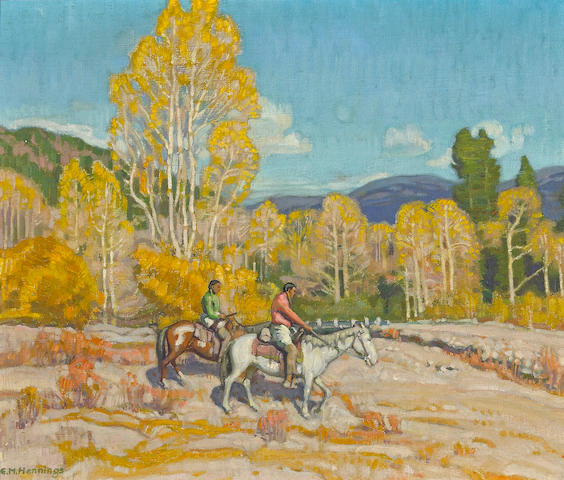 Ernest Martin Hennings (American, 1886-1956) Indian Hunters 12 x 14in