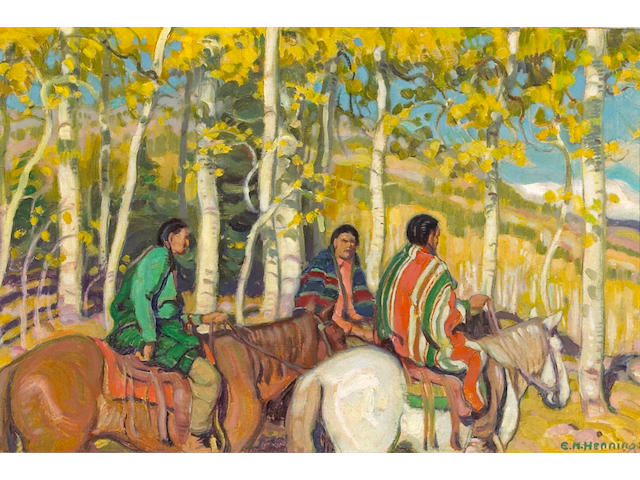 Ernest Martin Hennings (American, 1886-1956) Indian Horsemen 7 3/4 x 10 3/4in